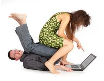 Guy and girl with the laptop Royalty Free Stock Photo