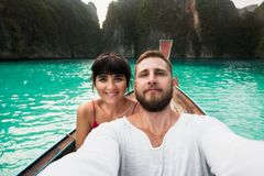 Couple makes a selfie stock images
