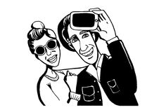The guy with the girl photographed themselves on the smartphone Royalty Free Stock Images
