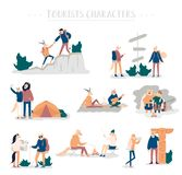 Guy and girl pitching tent, lying in hammock, watch the stars, backpacking. Set of young romantic couples during hiking. Adventure travel or camping trip. Flat royalty free illustration