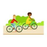 Guy And Girl Riding Bicycles del av folk i parkeraaktivitetsserien stock illustrationer