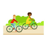 Guy And Girl Riding Bicycles, Part Of People In The Park Activities Series Stock Images