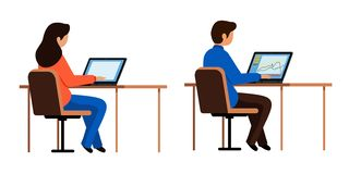 Guy and girl sitting at computers. People in the office, the class working on laptops. stock illustration