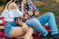 Sexual attraction. a guy and a girl are sitting on a plaid veil on the grass, hugging and kissing. a man in a plaid shirt and jean. A guy and a girl are sitting royalty free stock photos