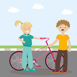 The guy and the girl are standing near the bicycle and are cute. Meeting friends. A new acquaintance. Flat character Stock Photography