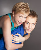 Guy and a girl in the studio. Couple. two Royalty Free Stock Photos