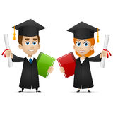 Guy girl university graduates holds diploma Stock Photo