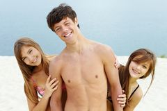 Guy and girls royalty free stock images