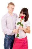 Guy give girl Rosa, makes a proposal Stock Images