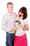 Guy give girl Rosa, makes a proposal Royalty Free Stock Photos