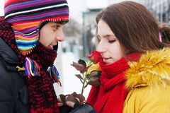Guy give a rose in winter Royalty Free Stock Photo