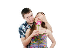 The guy gives a girl a rose Royalty Free Stock Photography
