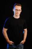 Guy in glasses royalty free stock photography