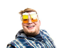 Guy with glasses of beer Stock Image