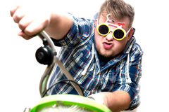 Guy with glasses in a bike Royalty Free Stock Image