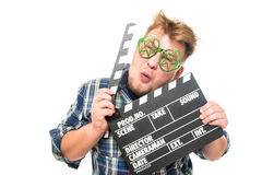 Guy with glasses shows a funny emotion Royalty Free Stock Photography