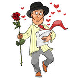 Guy goes with a rose in his hand and reads the letter Stock Image