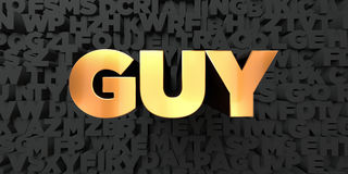 Guy - Gold text on black background - 3D rendered royalty free stock picture Stock Images