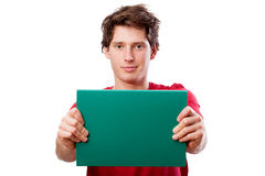 Guy with green board to put your text Royalty Free Stock Photography