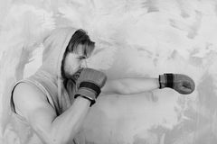 Guy in grey sleeveless hoodie wears red leather boxing gloves. Boxer with concentrated face trains and makes punch. Sports and fight concept. Man with messy stock images