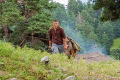 Guy guiding a horse, Tusheti Royalty Free Stock Photos