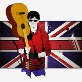 Guy with a guitar. On the background of the British flag Stock Image