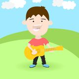 Guy with guitar. Singing boy with acoustic guitar on the meadow, vector illustration Royalty Free Illustration