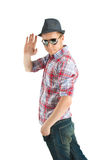 Guy in a hat and sunglasses. Waving Royalty Free Stock Images