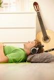 Guy with headphones Stock Photo