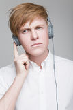 Guy in headphones Royalty Free Stock Images