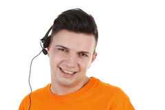 Guy with headset Royalty Free Stock Photos