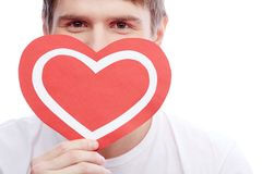 Guy with heart Stock Images
