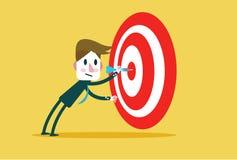 Guy Hits incorporado um Touro-olho Mercado-alvo do conceito, audiência, grupo, consumidor, objetivo, sucesso ilustração stock