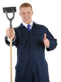A guy with a hoe Stock Photo