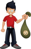 Guy holding bag with money Stock Images