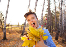 Guy holding bouquet of autumn leaves Stock Photography