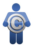 Guy Holding Copyright sign illustration Stock Photography