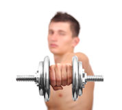 Guy holding dumbbell Royalty Free Stock Images