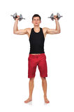 Guy holding dumbbells Royalty Free Stock Photography