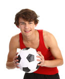 Guy holding football Royalty Free Stock Photography