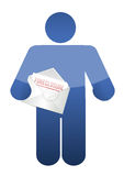 Guy holding a foreclosure letter. illustration Royalty Free Stock Photos