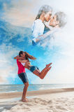 The guy holding the girlfriend. On his back royalty free stock photos