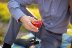 The guy holding a glass of wine Royalty Free Stock Photo