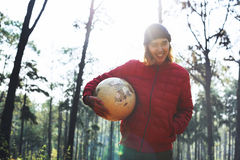 Guy Holding Globe Outdoors Concept imagens de stock