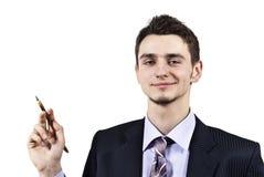 A guy holding a pen Stock Photo