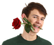 Guy holding a red rose in his mouth Stock Photo