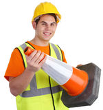 A guy holding a road cone Stock Photography