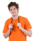 Guy holding a skipping rope Royalty Free Stock Photography