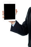 Guy holding tablet pc, cropped image. Royalty Free Stock Photography