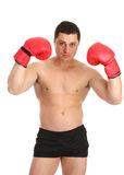 Guy holding up gloves Royalty Free Stock Photos